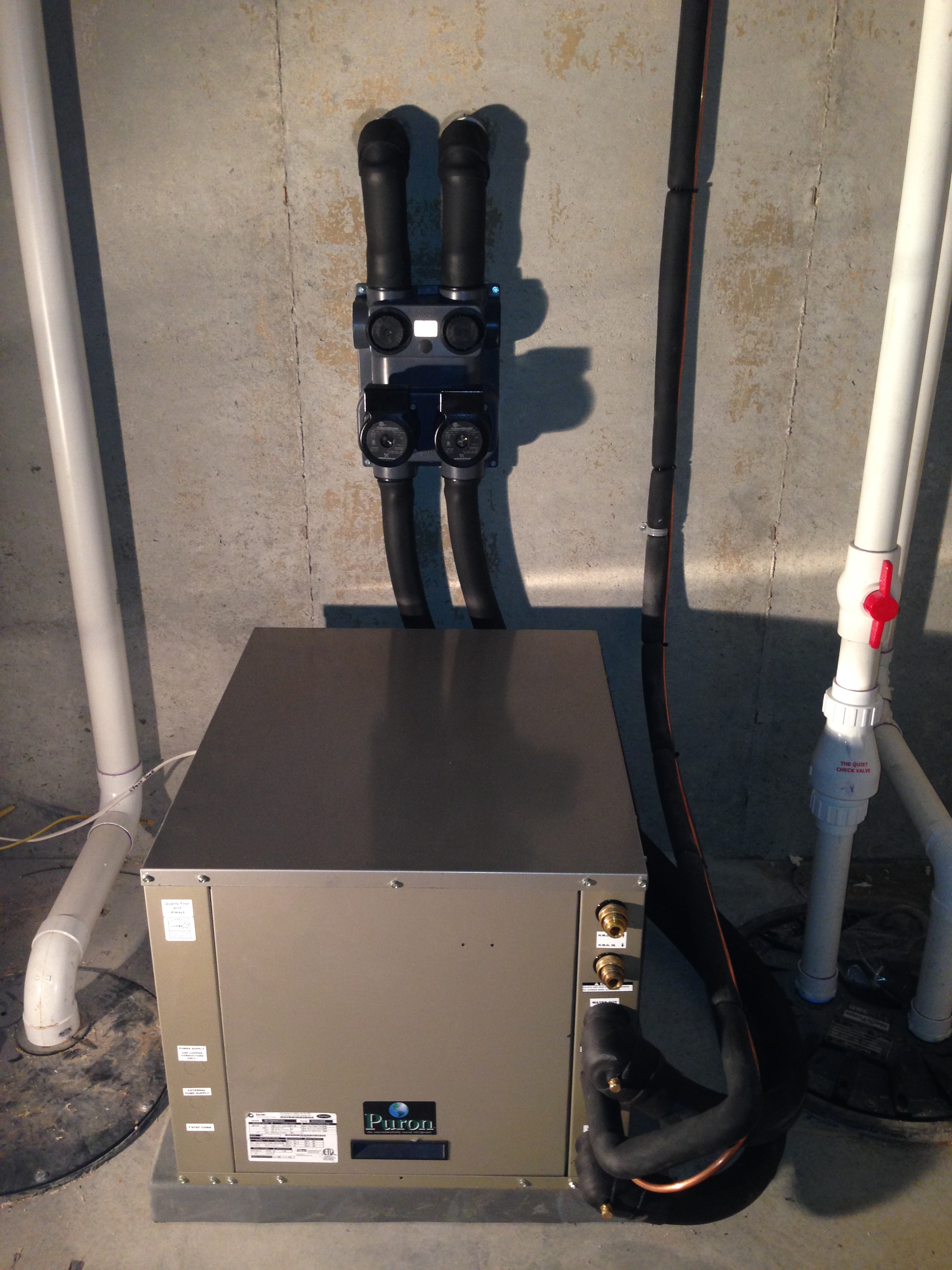 Geothermal Heat Pump Installation Inside Unit